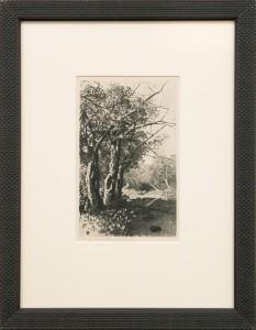 George Elbert Burr (1859-1939) Untitled (Creek and Trees) August 3, 1923 etching