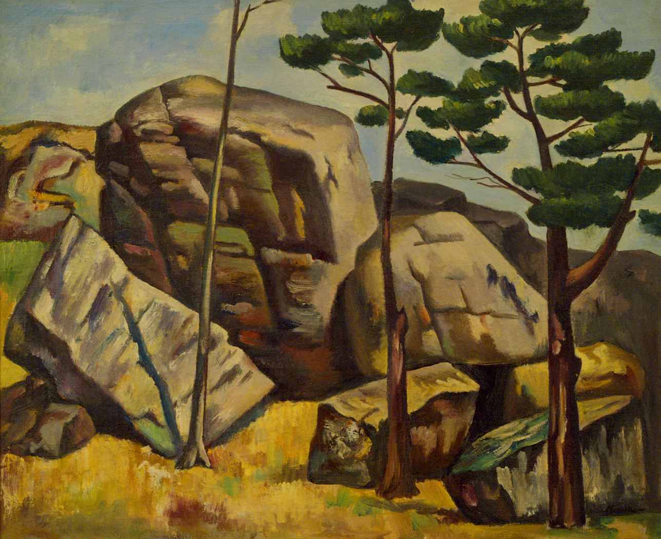 alt Untitled (Landscape with Rocks and Trees)c. 1925