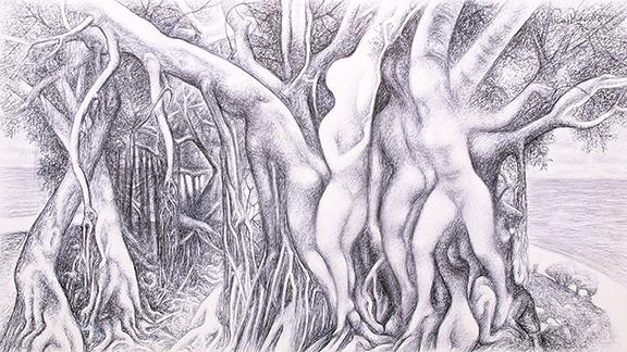 alt Figure within trees