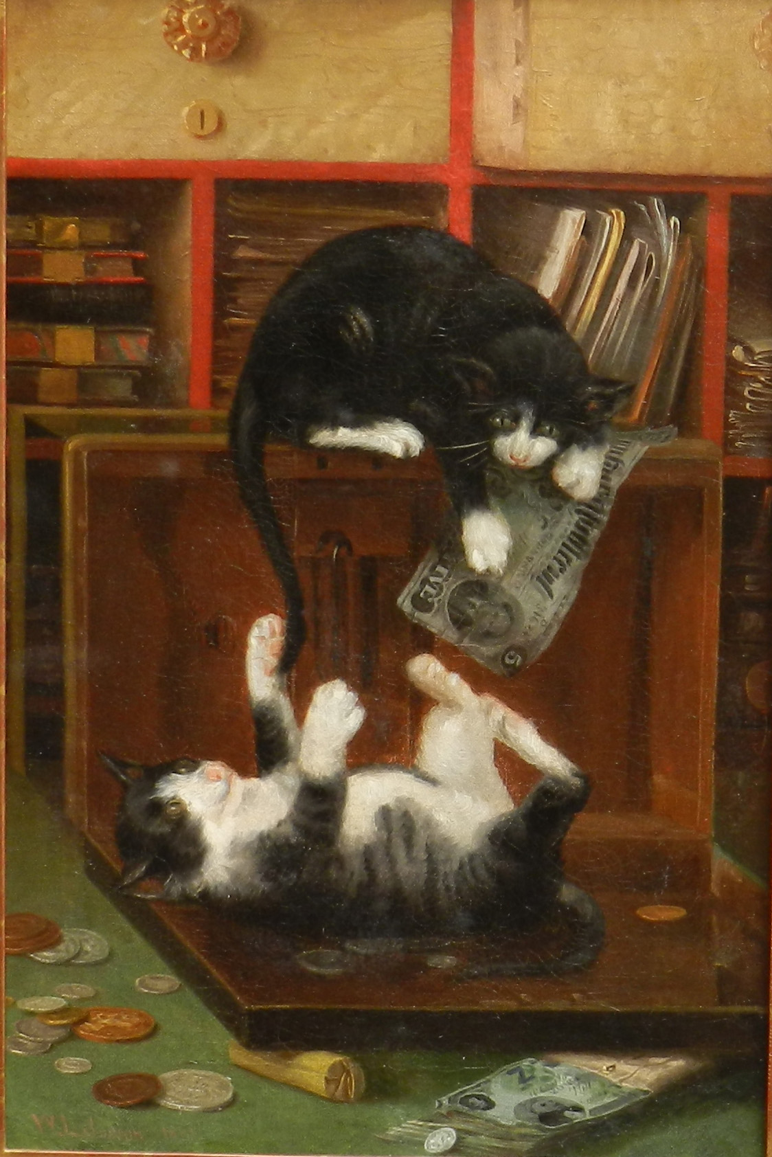 alt Cats at Play, dated 1881