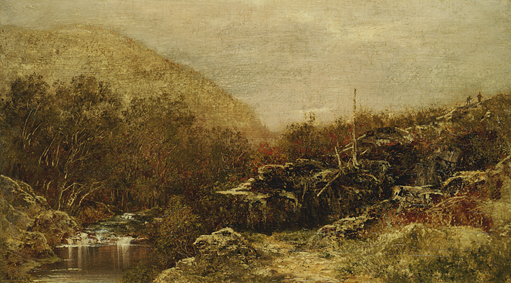 alt Fall Landscape, Catskills, with Hikers