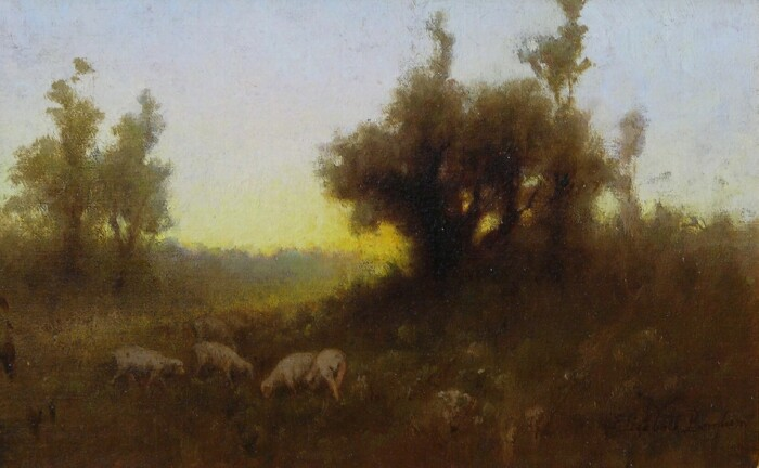 alt Tonalist Landscape with Sheep