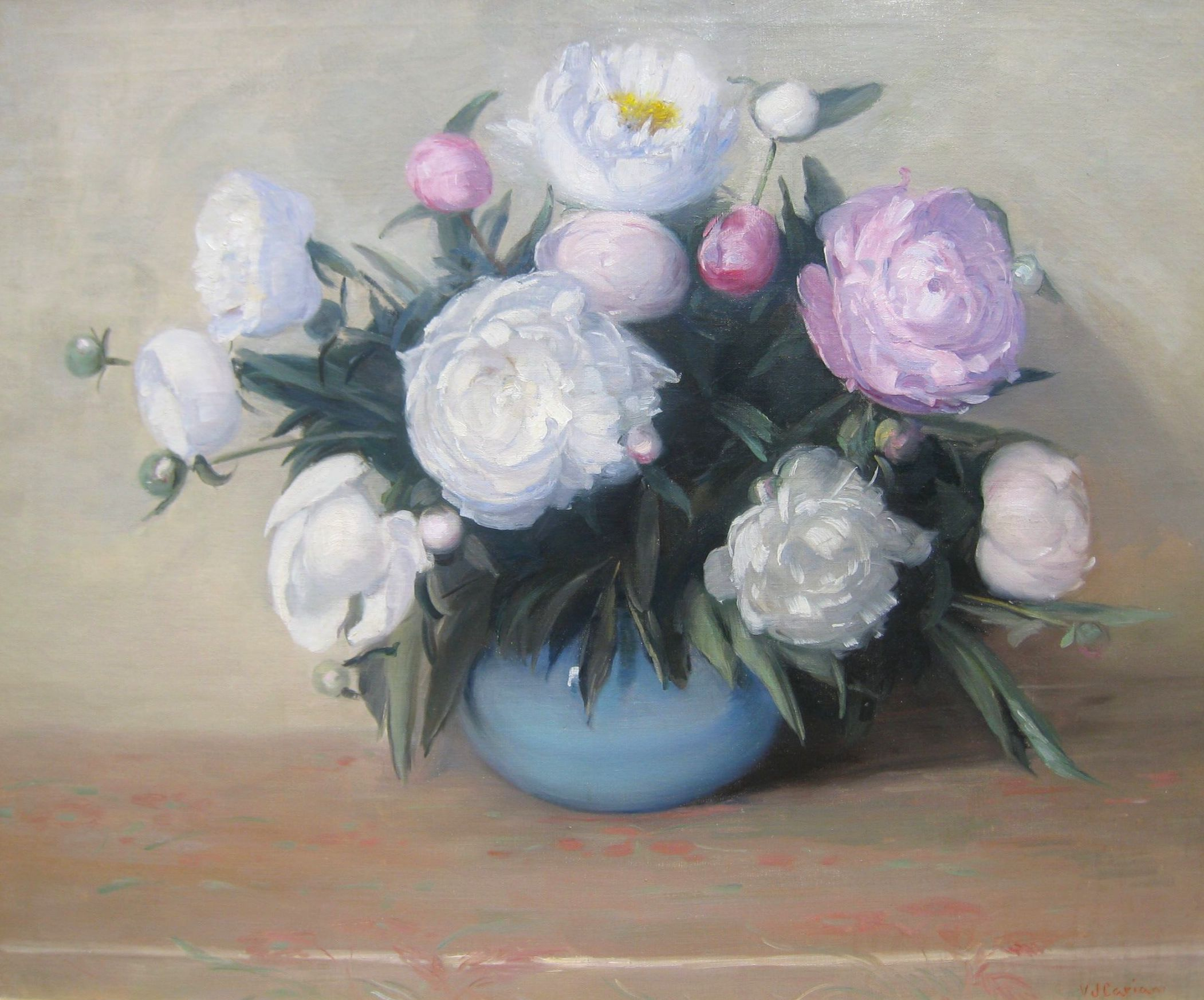 alt Peonies in Blue Vase