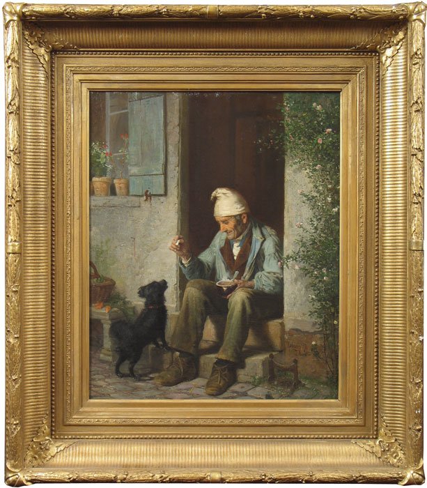 champney_old-man-feeding-a-dog