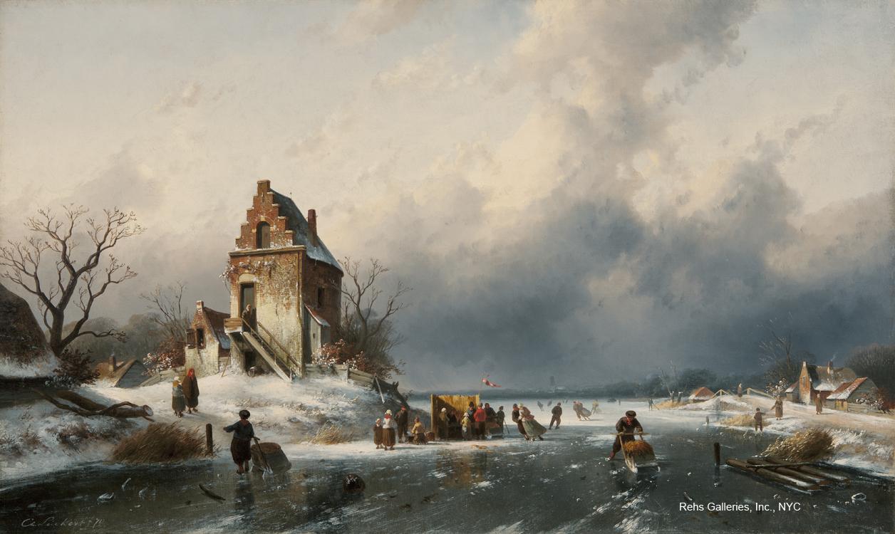 alt Cijfers schaatsen op een bevroren rivier (Figures Skating on a Frozen River)