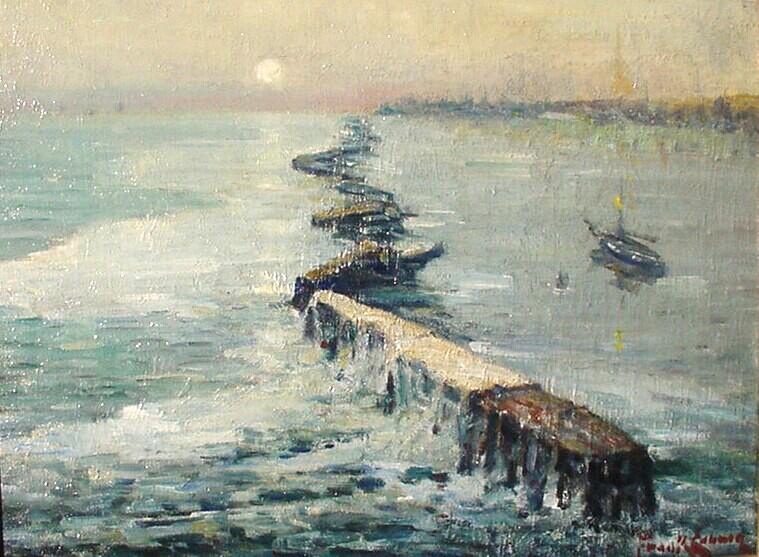 alt Ship Behind Breakwater, San Pedro