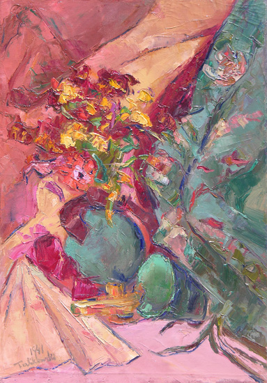 alt Floral Still Life with Green Bowl and Fan