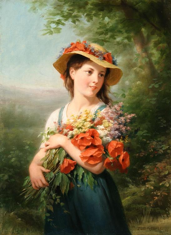 alt Jeune Fille au Bouquet de Fleurs des Champs