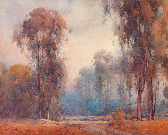 grayeucalyptuslandscapewithtrees