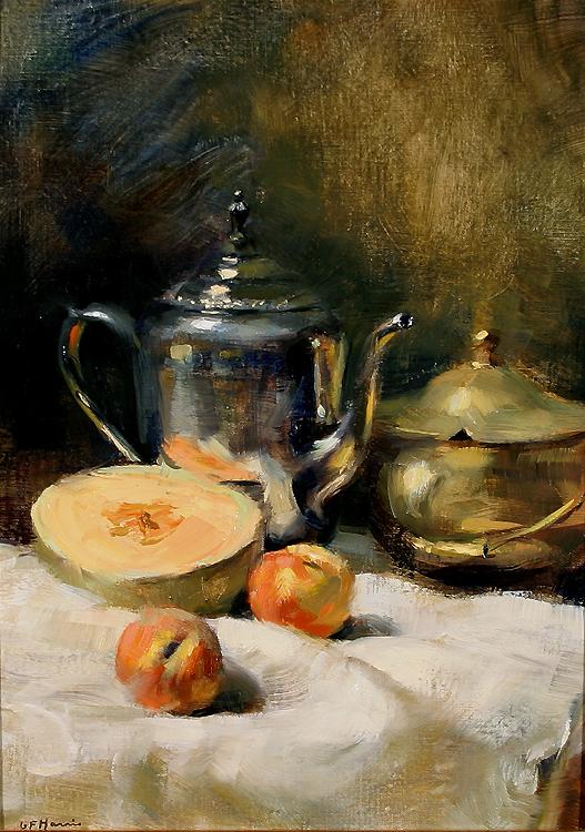 alt Still Life with Cantaloupe & Peaches