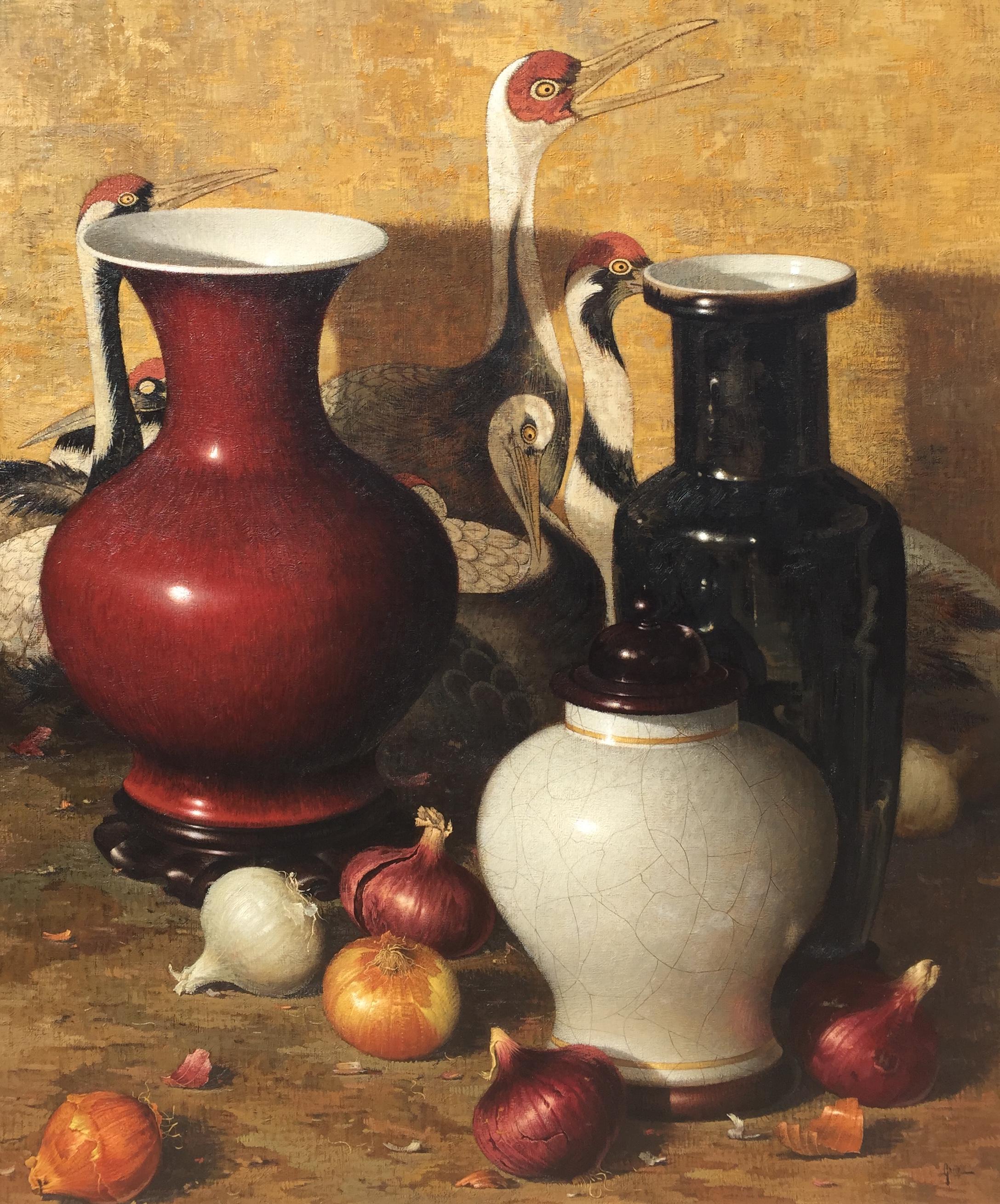 alt Japanese Screen, Oriental Vases, & Onions