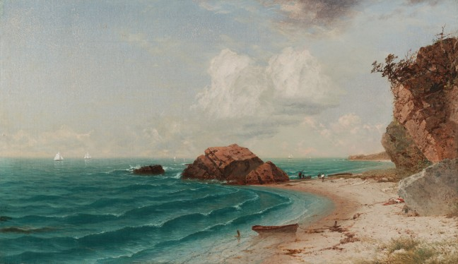 New England Coastal Scene with Figures, 1864
