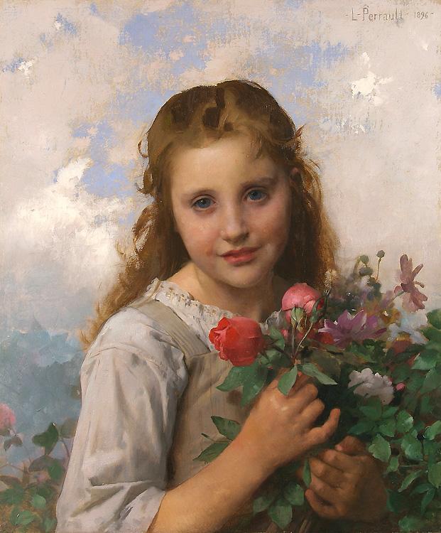 alt Petite fille au bouquet de fleurs