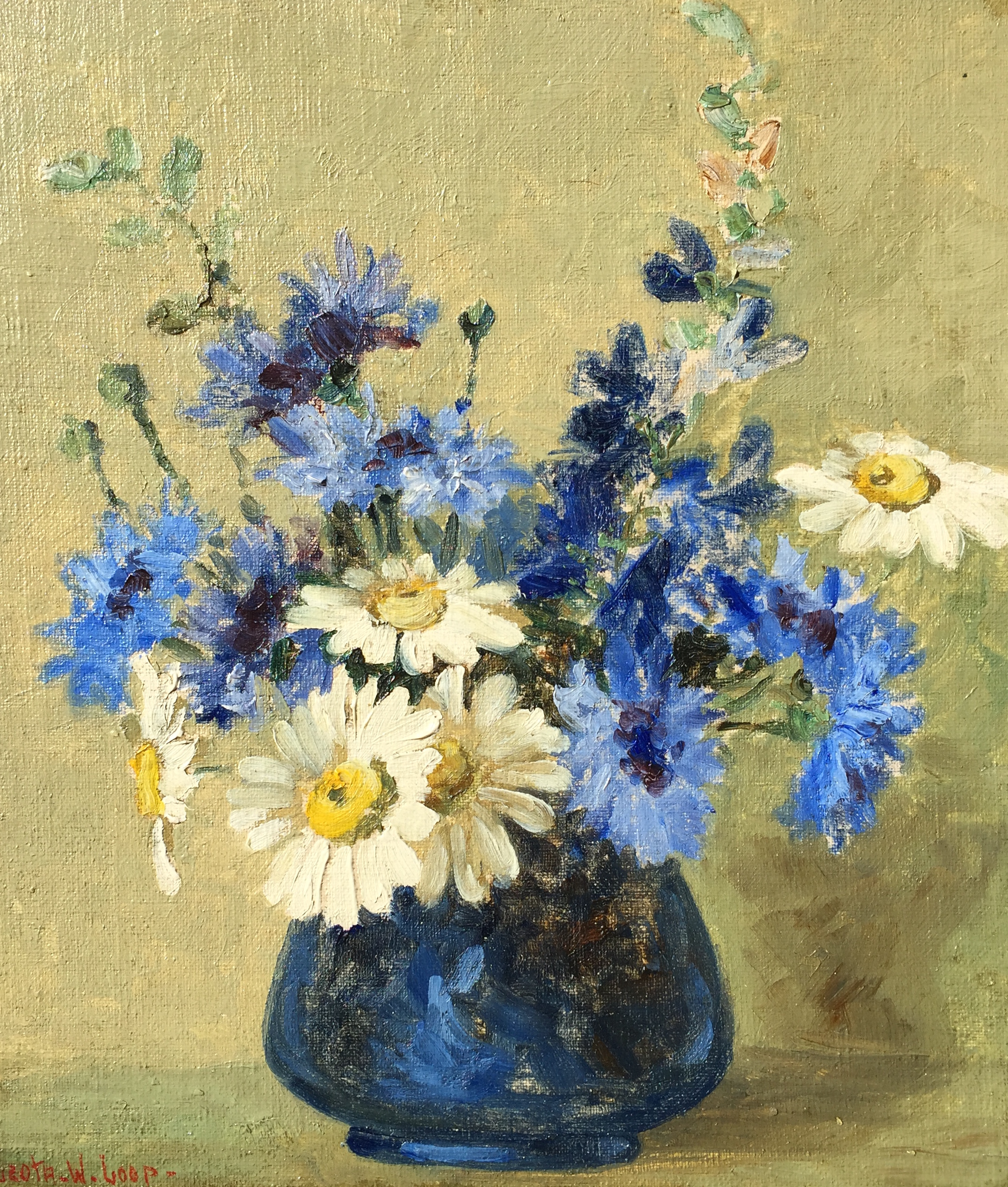 alt Flowers in a Blue Vase