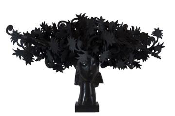 Ada Cabeza Con Flores bronze sculpture by artist Manolo Valdés