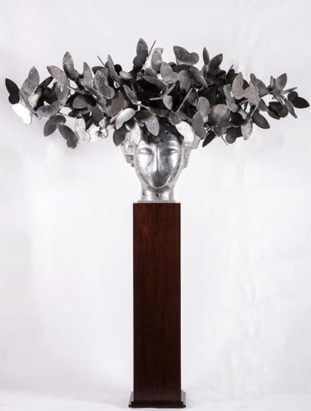 Mariposas VII silver aluminum sculpture by artist Manolo Valdés