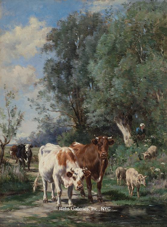alt Vaches et les moutons par l'eau