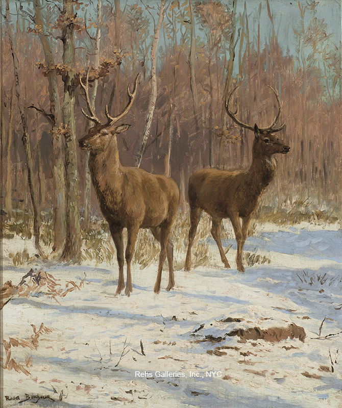 alt Stags in a Winter Landscape
