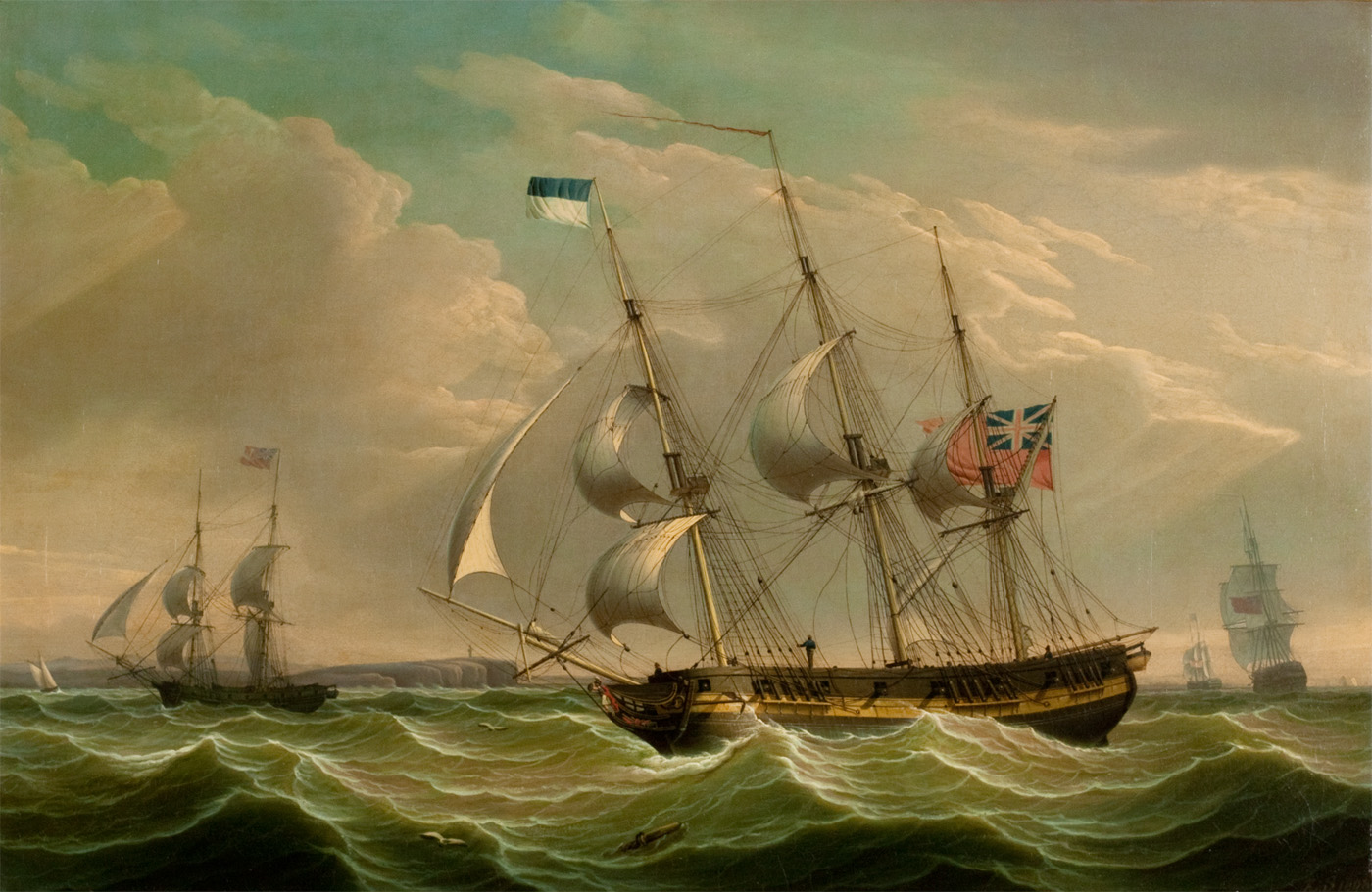 alt A British Armed Sloop and Auxiliary Brig, 1808