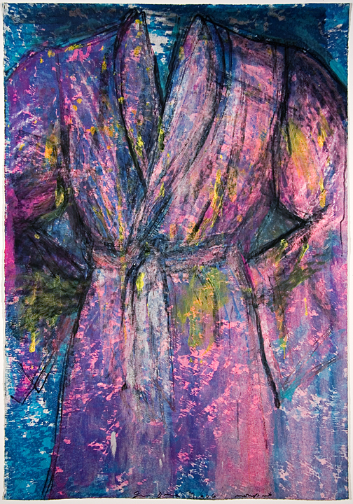 Untitled (Robe 7) etching with hand coloring by artist Jim Dine