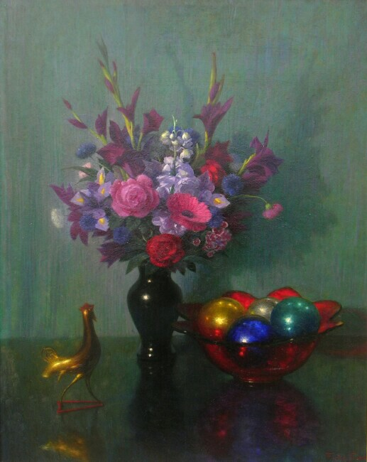 alt Still Life with Flowers, Bowl of Christmas Ornaments and Rooster