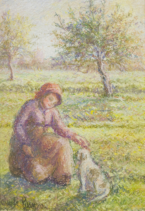 alt Céline et Pipo dans le pré (A Girl and Her Dog in the Meadow)