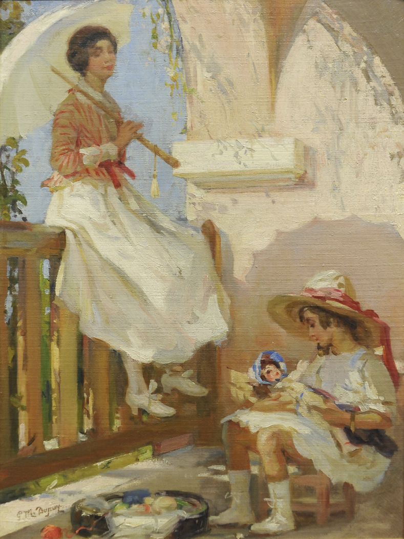 alt Jeune femme à l'ombrelle et son enfant (Young Woman with Umbrella and her Child)