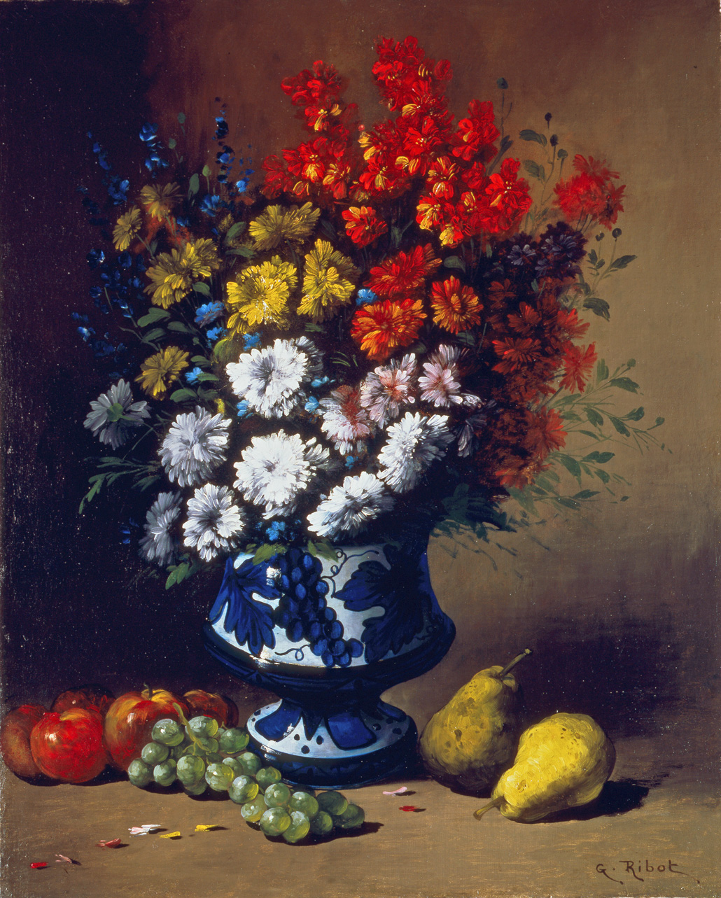 alt Floral Still Life with Fruit on a Ledge