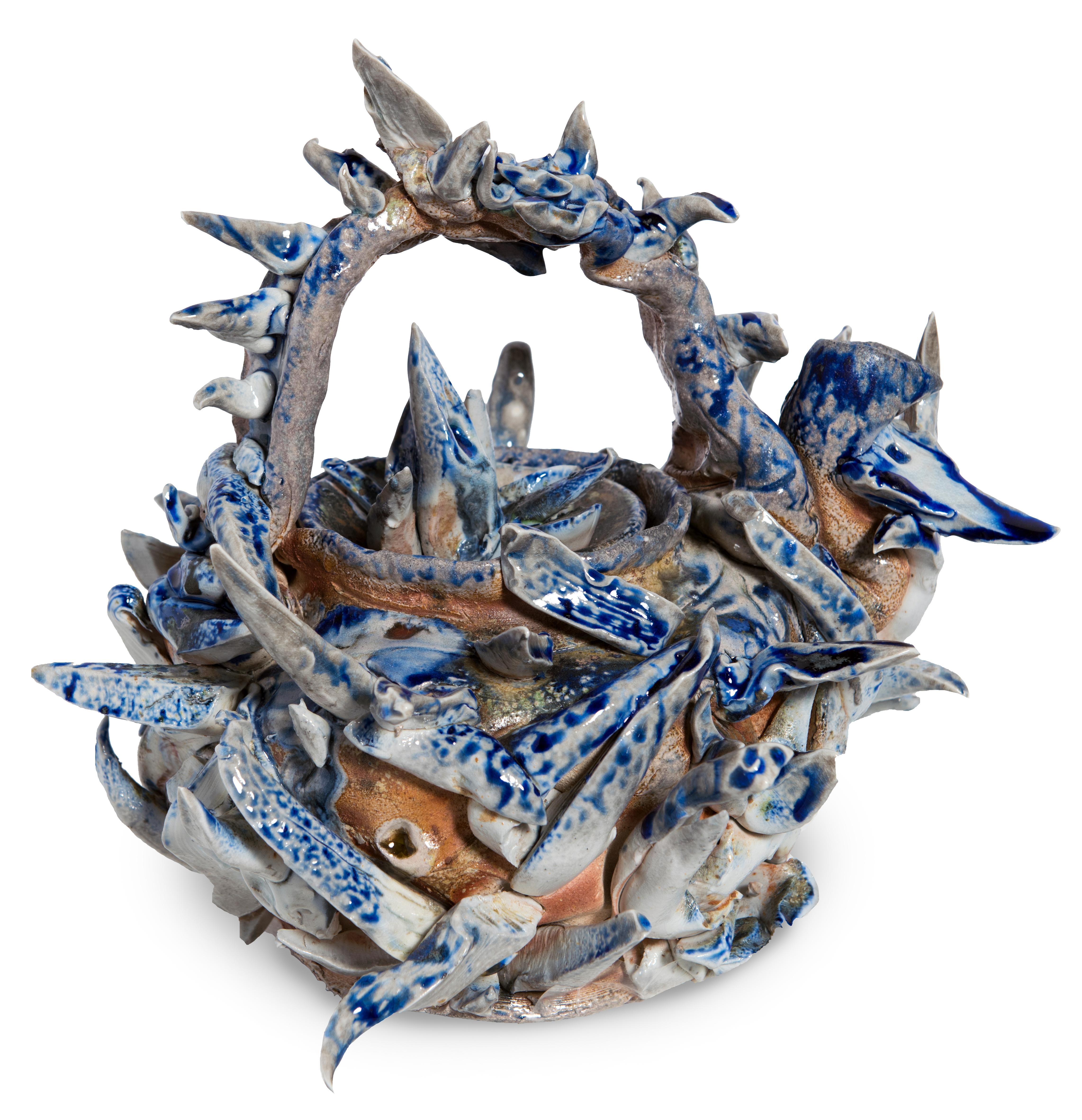 Spondylus Teapot #1 porcelain, wood ash, glass and metal oxide ceramic artwork by Jeff Whyman