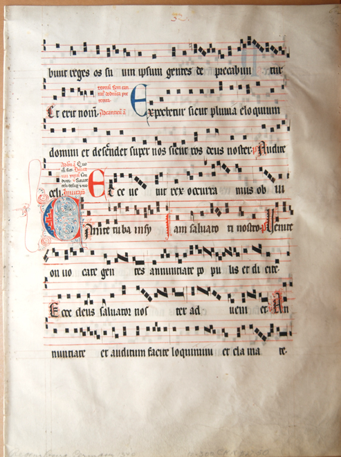 "alt A page from the ""Regensburg Gradual"" of Gregorian chant"