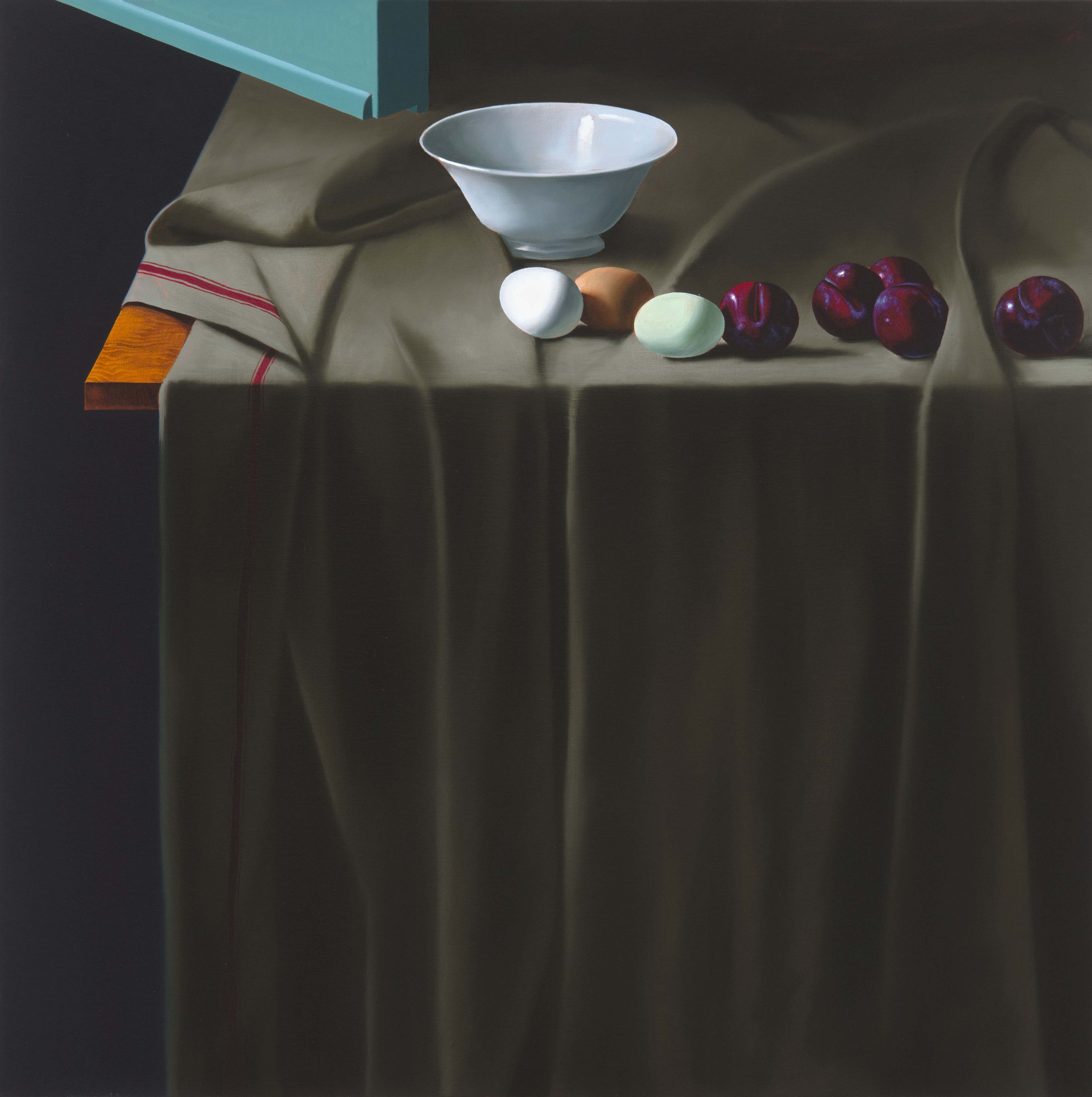 alt Still Life with Eggs, Plums, and Bowl