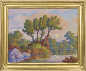 "Birger Sandzen, ""Autumn Twilight, Smoky Hill River Lindsborg, Kansas"", oil painting fine art for sale purchase buy sell auction consign denver colorado art gallery museum Birger Sandzen (1871-1954) Autumn Twilight, Smoky Hill River Lindsborg, Kansas 1945 oil painting"