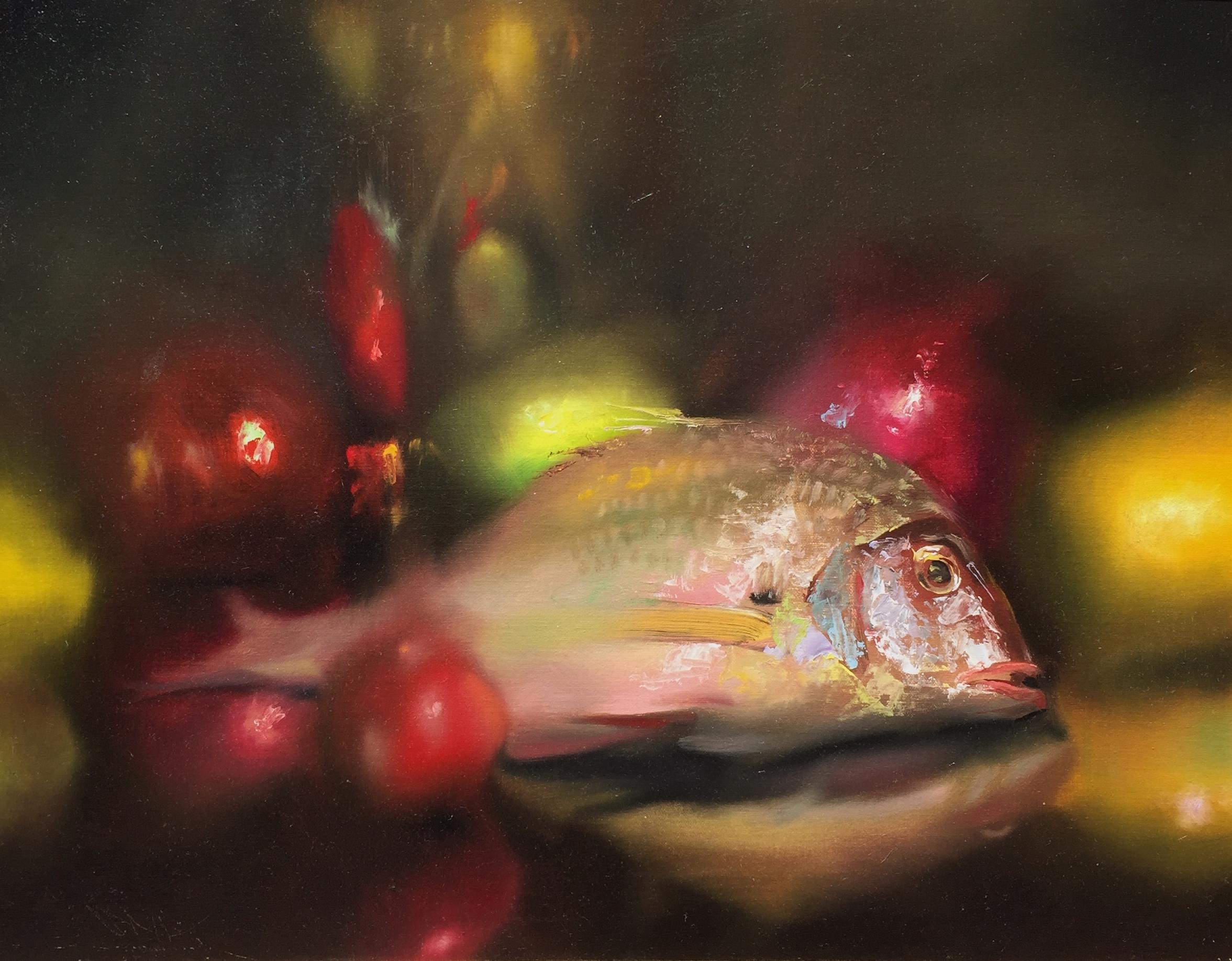 Porgy Fish, Fruit and Brass Vase