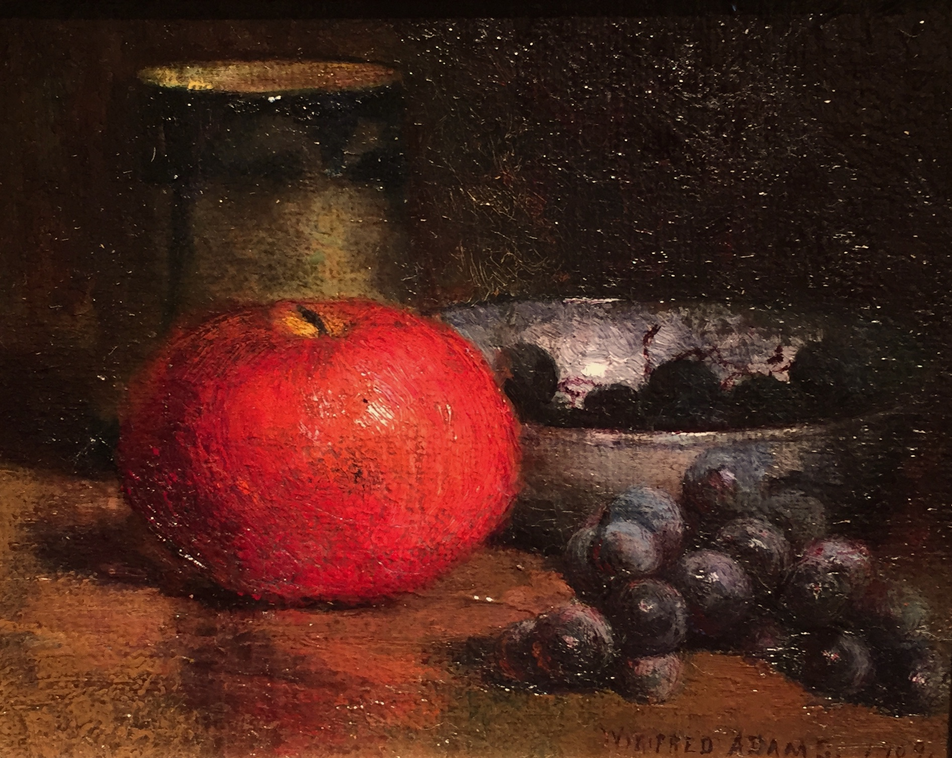 Still Life with Apple and Grapes