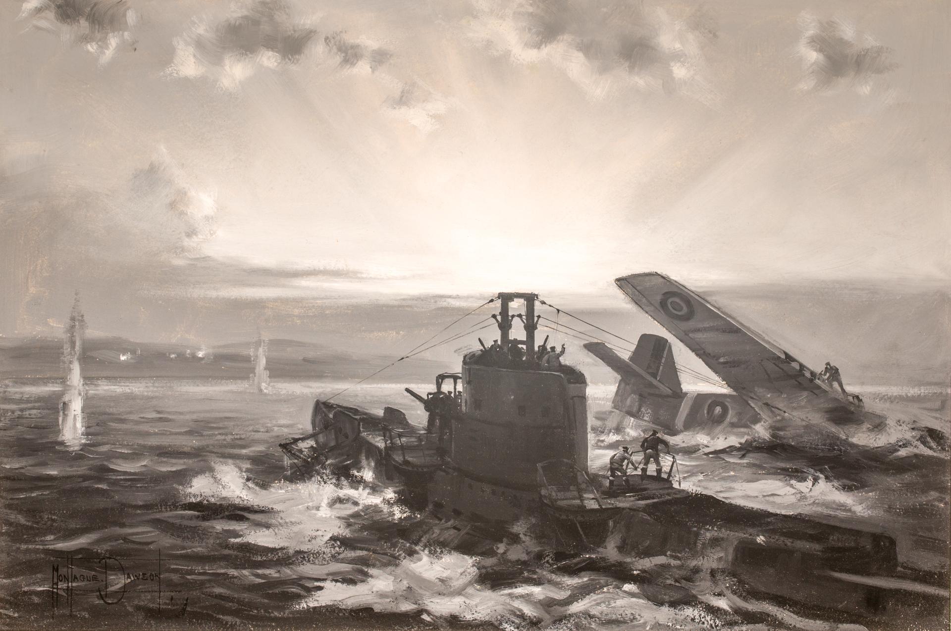 British Submarine H.M.S. SEALION  Rescues a P-51 Mustang Pilot