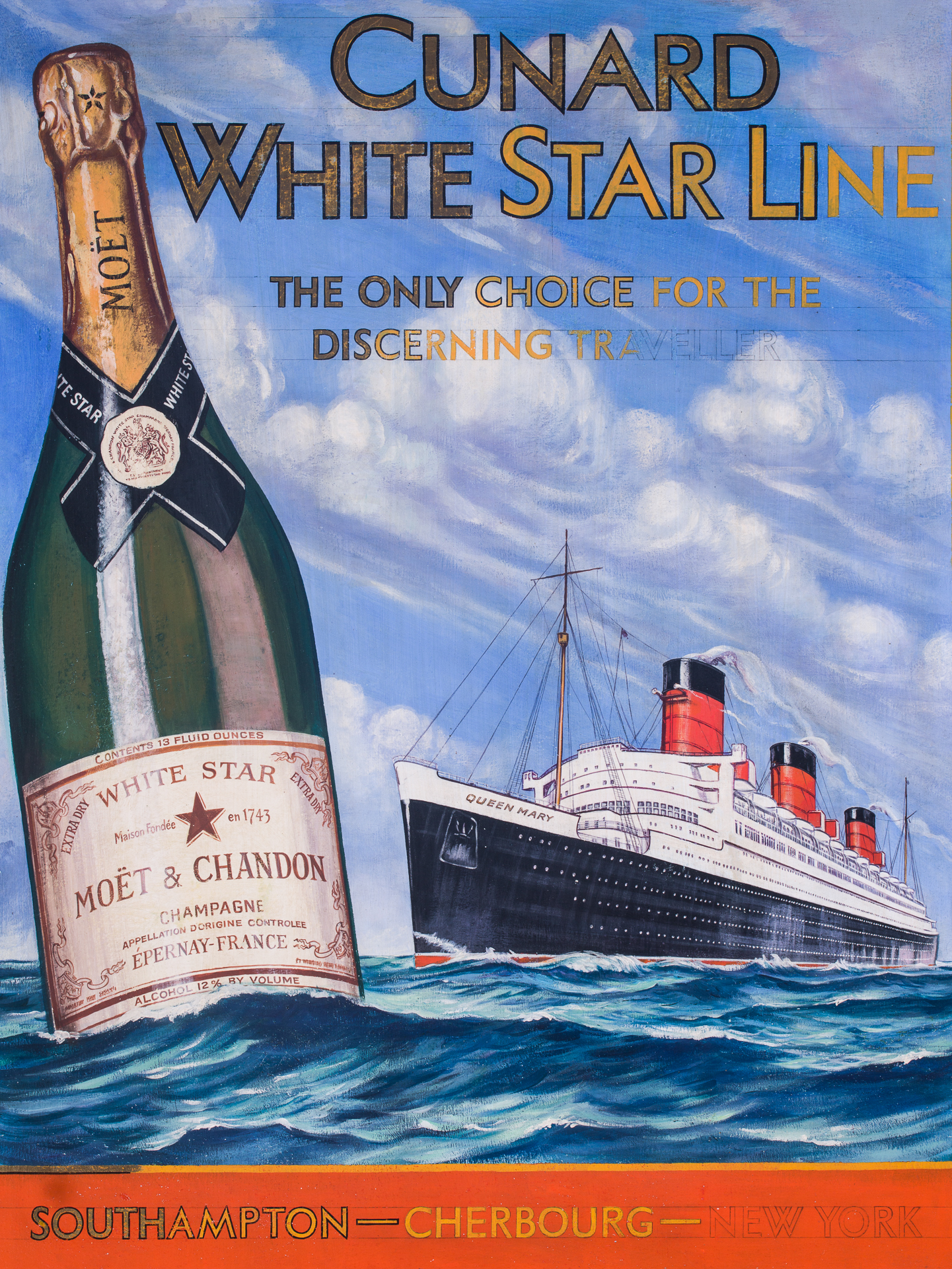 Cunard-White Star RMS QUEEN MARY/Moet Chandon Advertising Art