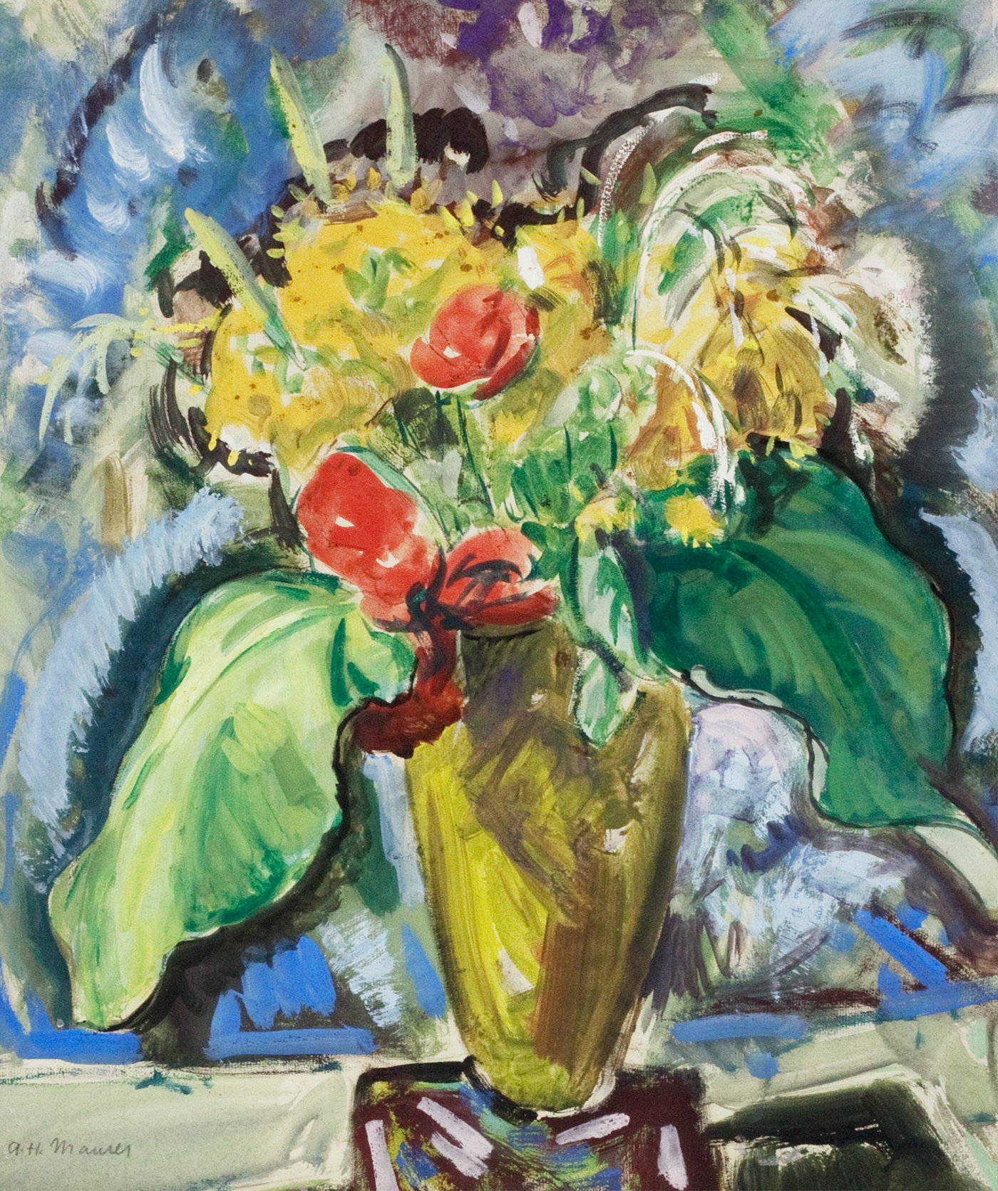 alt Flowers in a Green Vase