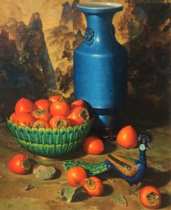Grue-Persimmons & Cloisonné Peacock-cropped