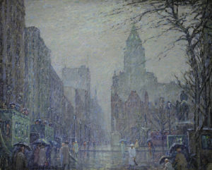 De Voll-Showery Day, Fifth Avenue at teh Plaza, 1927