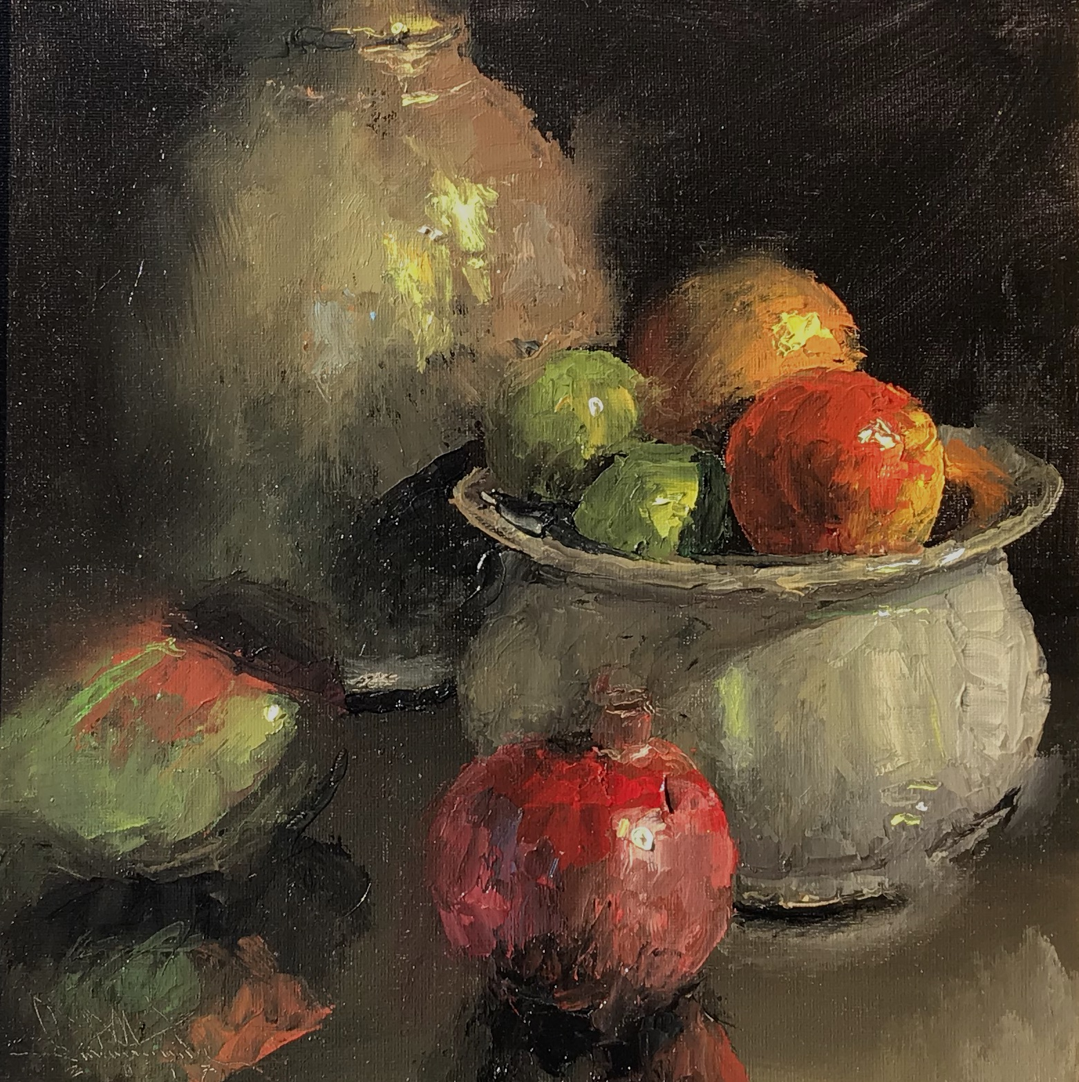Antique Jug & Bowl with Fruit