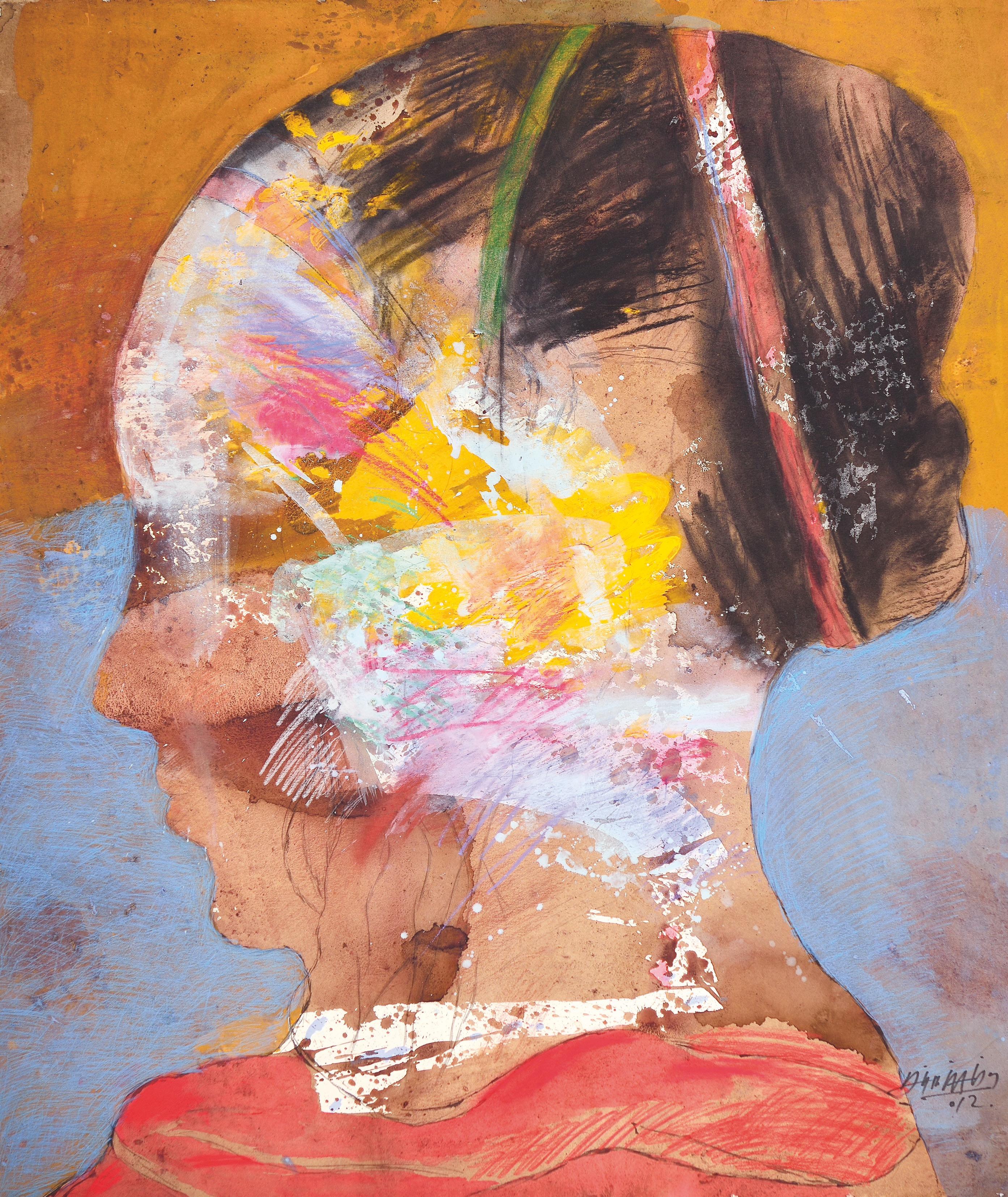 Alirio Palacios, La_mujer_que_siempre_ame_No_7, 2011, Natural Pigment, Chinese ink, and watercolor crayon _154 x 130cm, 60.6 x 51.1in