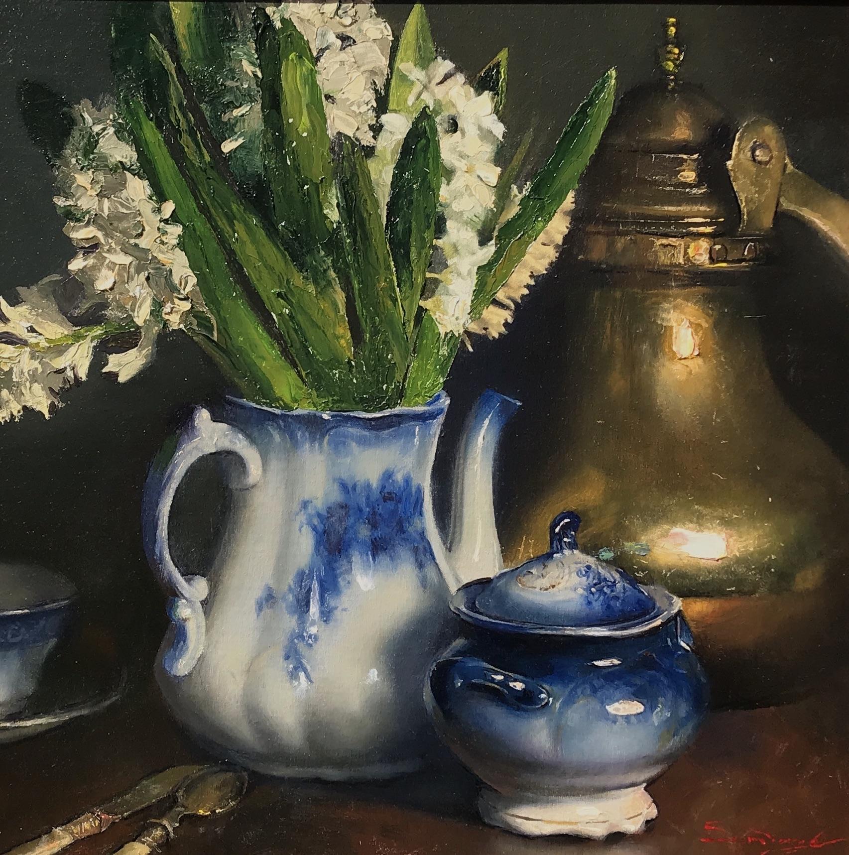 alt Hyacinths, Flow Blue & Brass