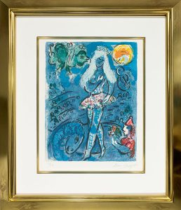 L'equilibriste (The Tightrope) color lithograph by Marc Chagall