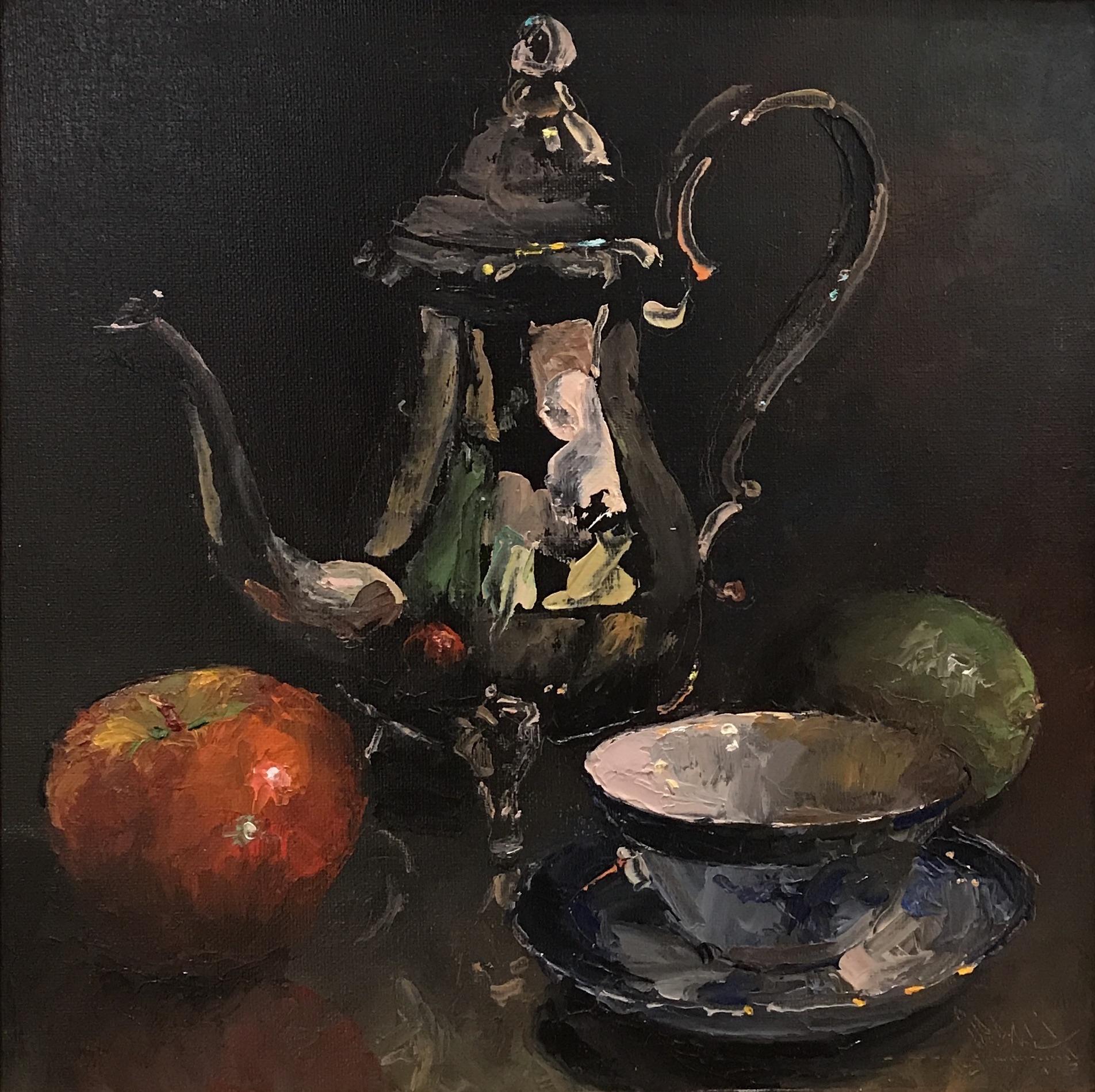 alt Silver Teapot with Fruit