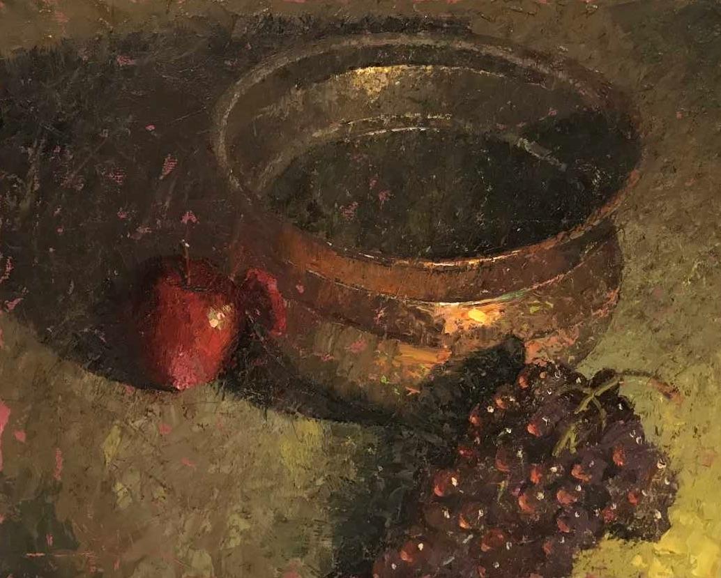 alt Copper Pot With Grapes