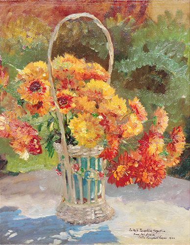 alt Flowers in Basket in a Garden