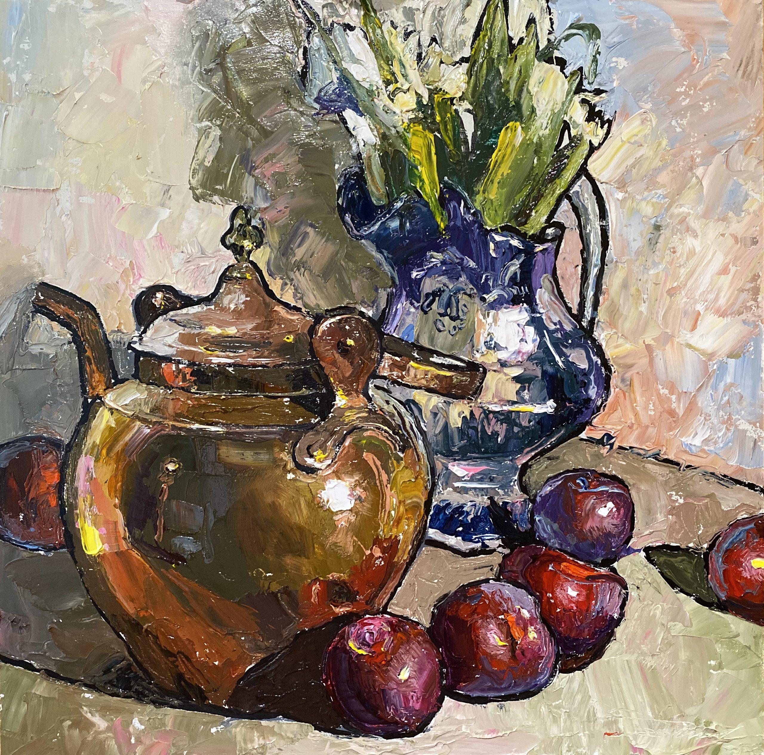 alt Brass Pot with White Tulips